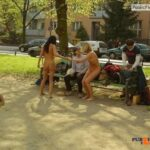 Public nudity photo outside-only:do you want some more sluts flashers in public…