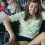 Public flashing photo carelessinpublic: Inside an airport lounge in a short skirt and…
