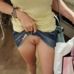 No panties nounderwearisthebestunderwear: Piercing peek during shopping pantiesless