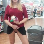 Flashing in public store Quick pussy flash in the store anyone? Love the short skirt and…