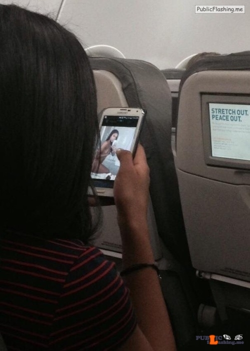 Exposed In Public Caught Looking At Porn On A Plane Nude -5260