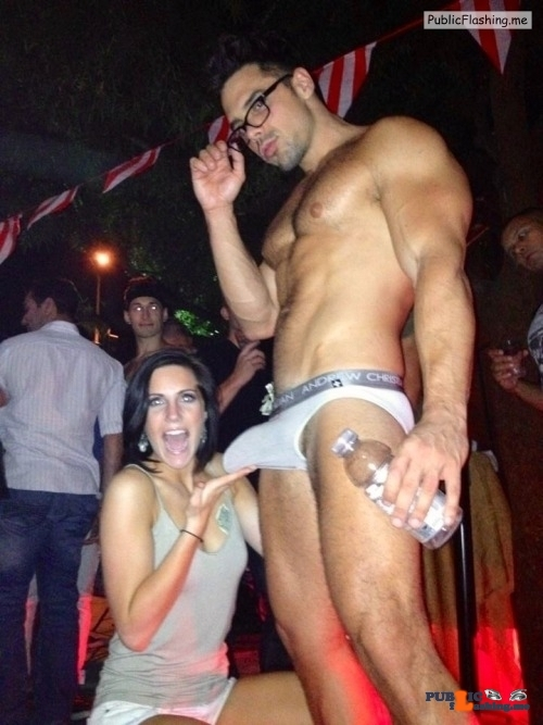 Exposed in public Impressive stripper cock…