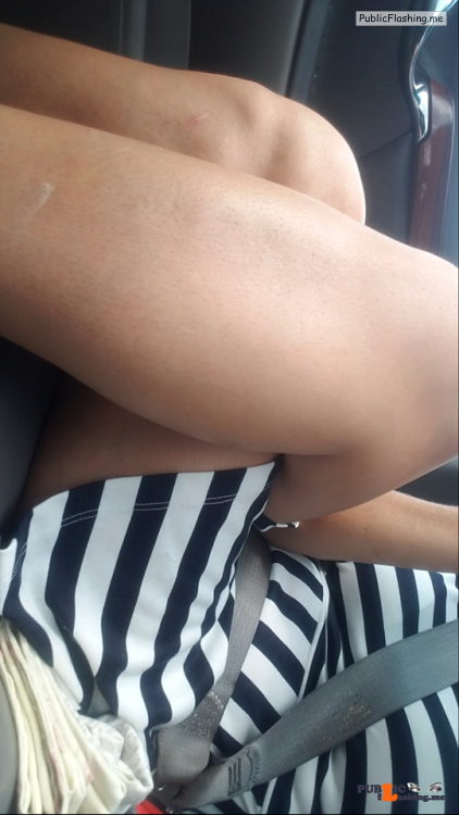 No panties Riding in the car Commando car rides are the best, thanks for… pantiesless
