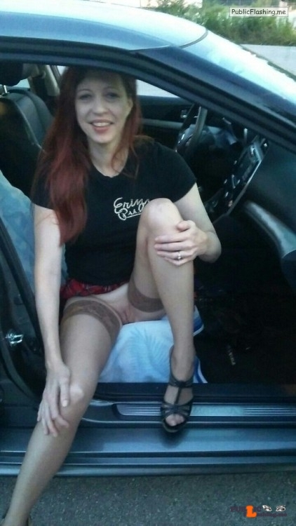 No panties Wife in stockings at the gas station. # stockings wife #redhead… pantiesless