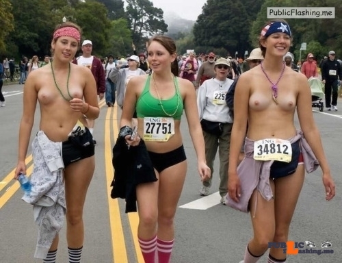 Flashing in public photo happyembarrassedbabes:Happy girls cooling off after a long hot…