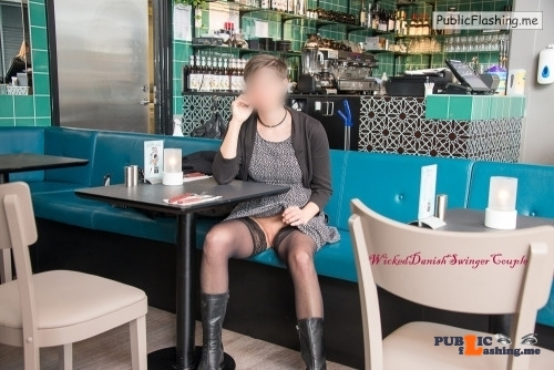 Public Flashing Photo Feed : No panties wickeddanishswingercouple: Going to a cafe, and later on… pantiesless