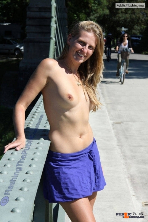 Public flashing photo flashingthepublic: Wearing a top is so overrated! i hope she…