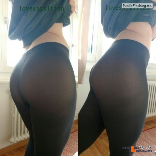 No panties loveshykitten: Someone asked for some shots in leggings… So… pantiesless