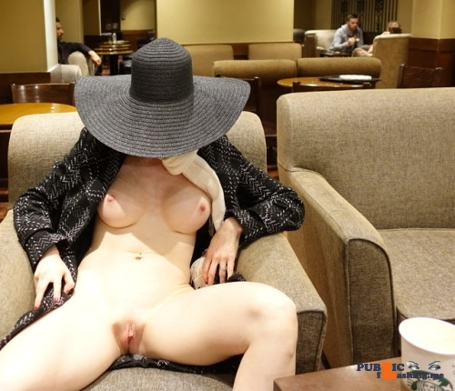 Public flashing photo miaexhib:Naked under my coat in a Starbucks!