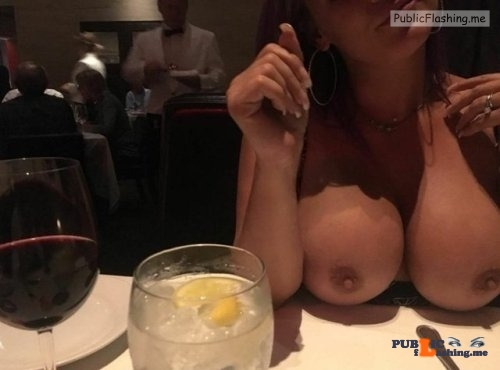 Public flashing photo exhibitionunited:A nice public flash in a restaurant. Thanks for…