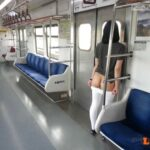 carelessinpublic: Inside a train and showing her bottomless… flashing in public picture
