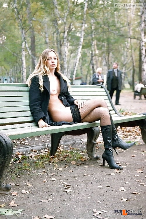 Public flashing photo carelessinpublic:Almost nude in a park and showing her boobs and…