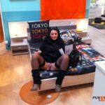 Public flashing photo pantyless-upskirt-love:Commando bed shopping
