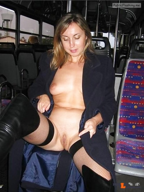 Public flashing photo carelessinpublic:Almost nude inside a bus and showing her boobs…