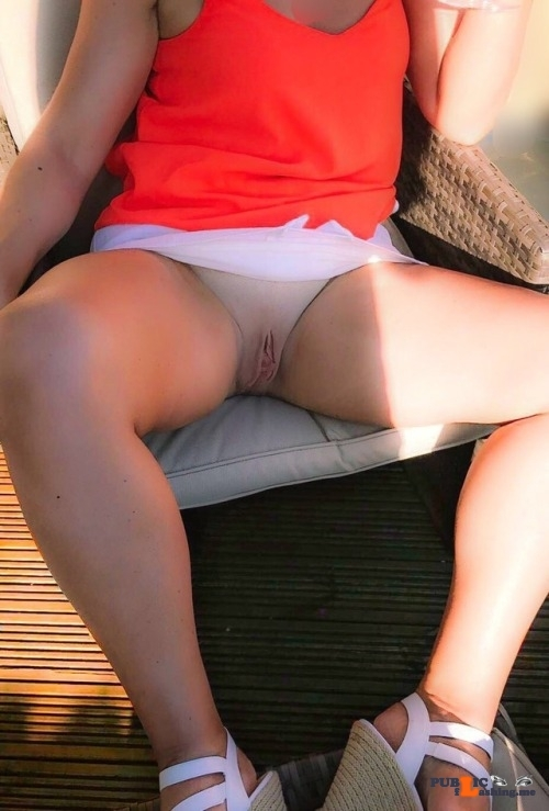 No panties My wife enjoying the sun – without panties, of course…. pantiesless