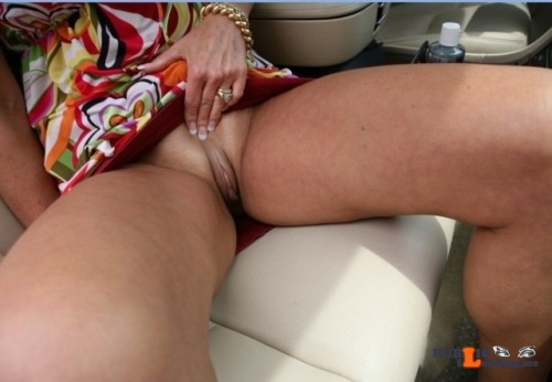 No panties arealwife: Flashing the pussy in the car pantiesless