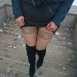 No panties anndarcy: Upskirt with stockings as you've requested 😍Can you… pantiesless