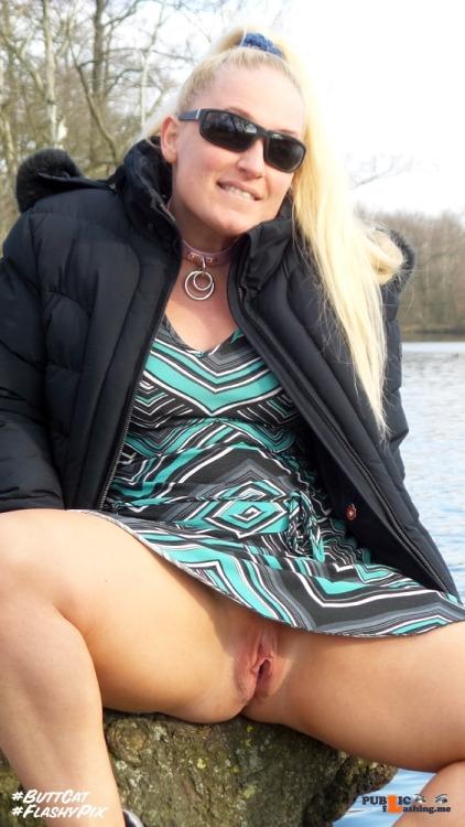 Public Flashing Photo Feed : No panties darkflashbdsm: A nice pose on a tree close to a parking-place…. pantiesless