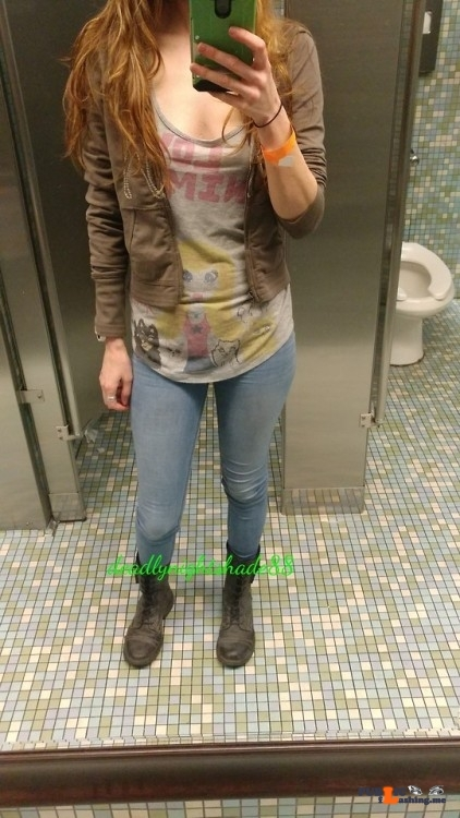 No panties deadlynightshade88: Out and about. Just before one of my… pantiesless