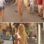 Public nudity photo cfnf-clothed-female-naked-female: Two Beautiful-Nude-Girls in…
