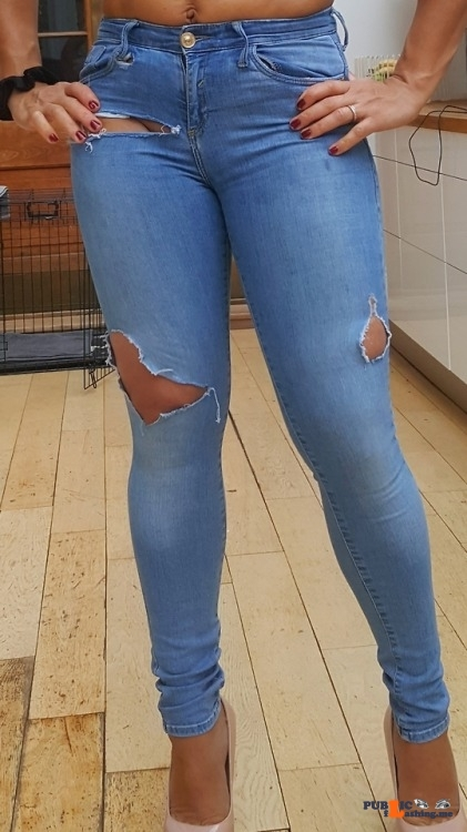 Public Flashing Photo Feed : No panties nakedangel13: Wriped denim and no pants ..would you have a look… pantiesless