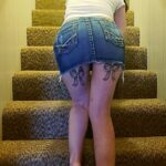 No panties lakephotoworx: Gwen in a skirt on the stairs pantiesless