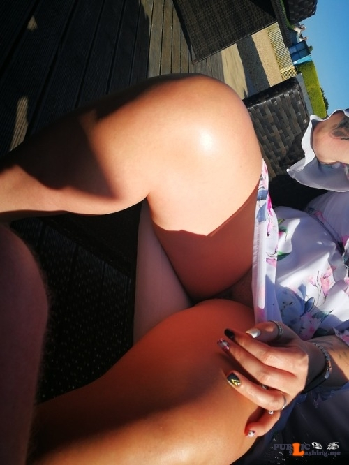 No panties richaz69: Beer garden in the sun pantiesless
