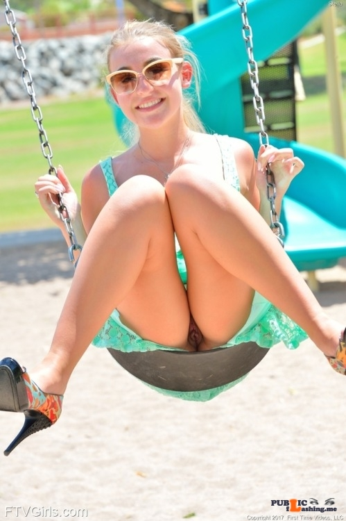 Public Flashing Photo Feed : FTV Babes upskirt Stella from FTV Girls has fun swinging. Not THAT kind of…