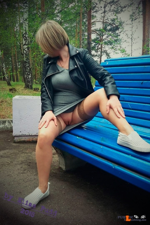 No panties eliaspudd: Kinky romps on the bench in the city park (1/3)…. pantiesless