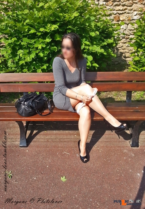 No panties morgane-love: Taking my panties off on a public bench in a… pantiesless