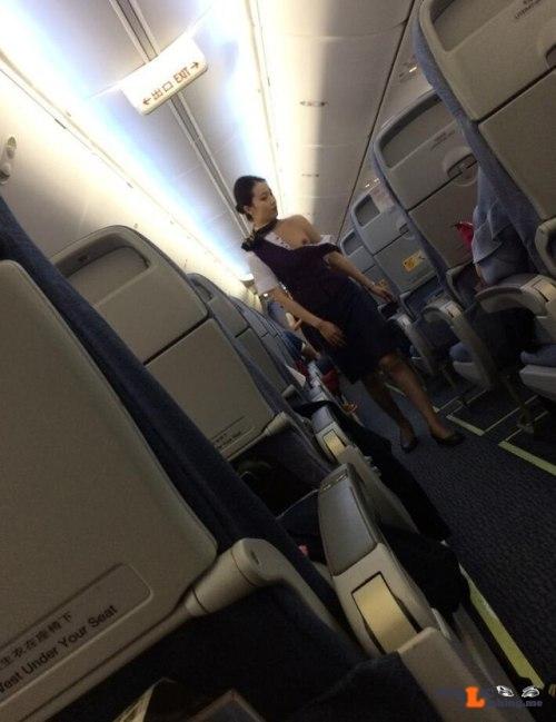 Exposed in public Stewardess nip slip…
