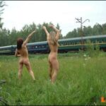 Public nudity photo fanofenf:After losing a bet, Emma and Sarah had to flash the…