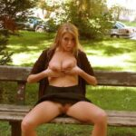 No panties darkflashbdsm: A nice pose on a tree close to a parking-place…. pantiesless