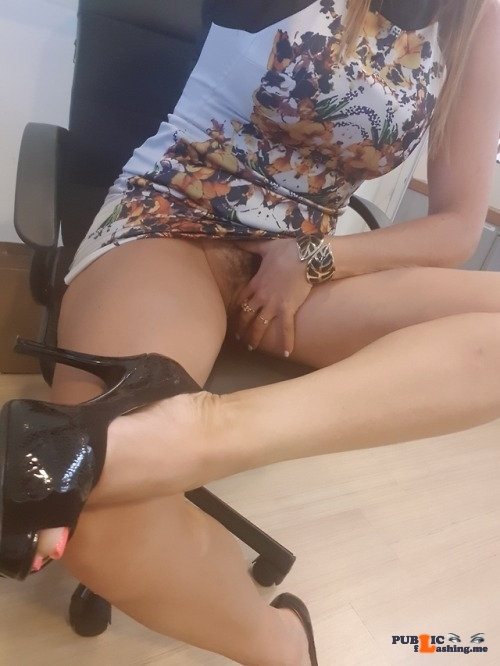 No panties thetdhasitall: besexyhotwife:In the office, so wet! look at… pantiesless