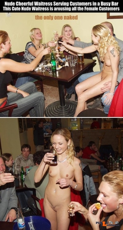 Public nudity photo cfnf-clothed-female-naked-female: Nude Cheerful Waitress Serving…