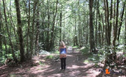 No panties itsrockhard: Flashing my ass in the woods pantiesless