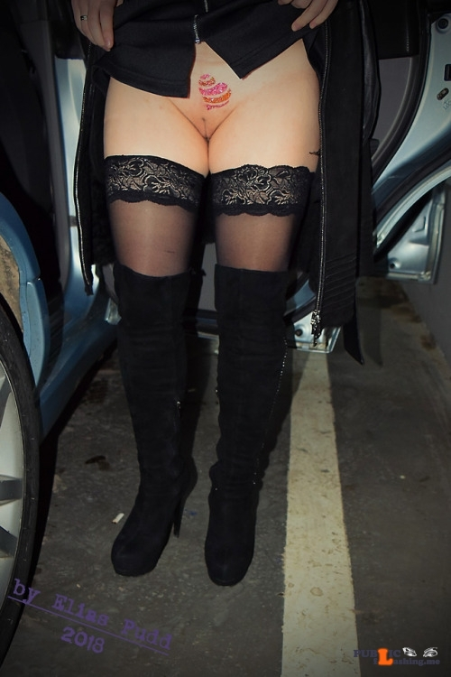 No panties eliaspudd: In the underground parking…. pantiesless