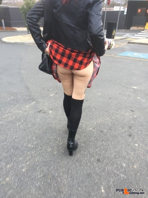 No panties blackxm: The wife flashing me in the maccas car park pantiesless