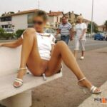 Public flashing photo carelessnakedv2: In a short dress and showing her bottomless…