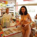 Public flashing photo streakers:Naked at a store