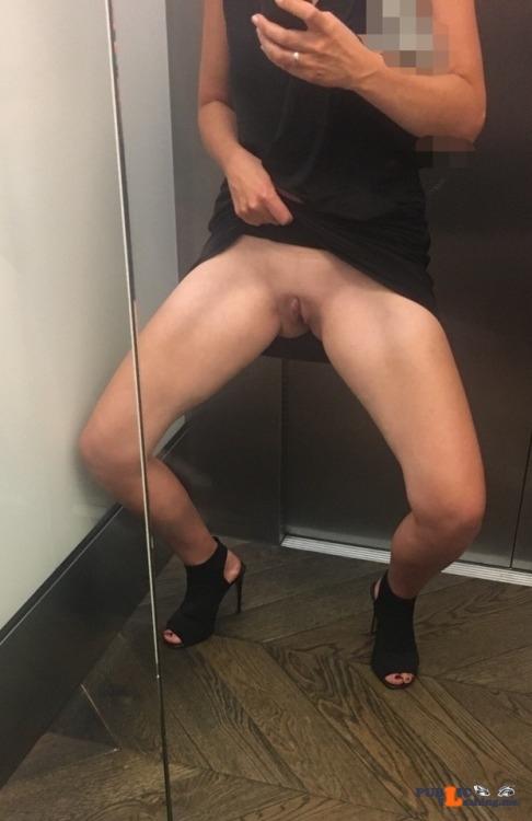 No panties nudenaughtyandfree: In the lift pantiesless