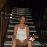 No panties hisharley-herjoker: Flashing outside of the motel pantiesless