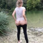 No panties blonde-dolly: Getting my bum out by the lake 😘 pantiesless