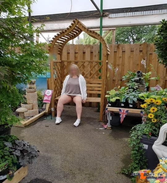 No panties lustycurvesherts: A little trip to the garden centre. Forgot my underwear.. pantiesless