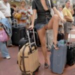 Public flashing photo airplanebabes5: Upskirt at the airport boarding gate …