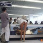Public flashing photo airplanebabes5: Upskirt at the baggage claim …