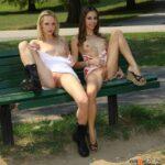 Public flashing photo publicexposurearchive: 2 girls 1 bench